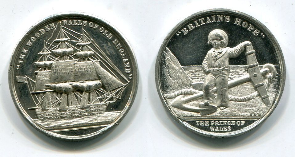 Medaille Medal O J Great Britain Prince Of Wales Britains Hope The Wooden Walls Of Old England Segelschiff Ship Unc