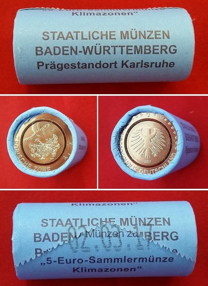 125 Euro 2017 G Bundesrepublik Deutschland Tropische Zone 25 X 5
