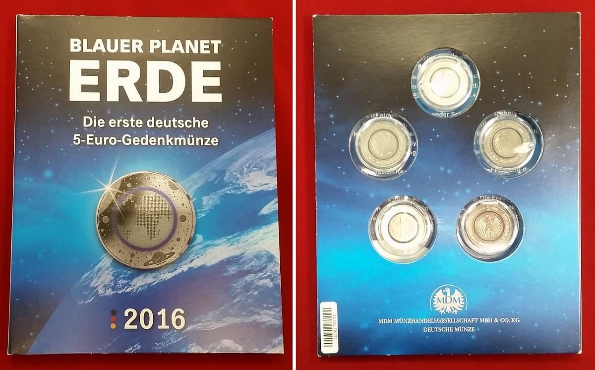 5 X 5 Euro Münzen 2016 Bundesrepublik Deutschland Blauer Planet Erde