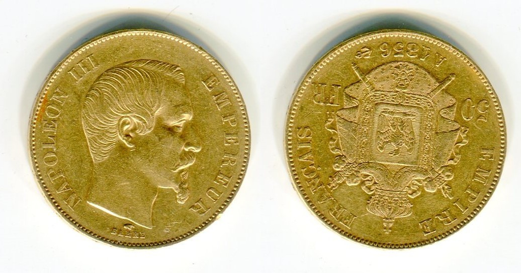 50 Francs Goldmünze Goldcoin 1856 A Frankreich France Empire
