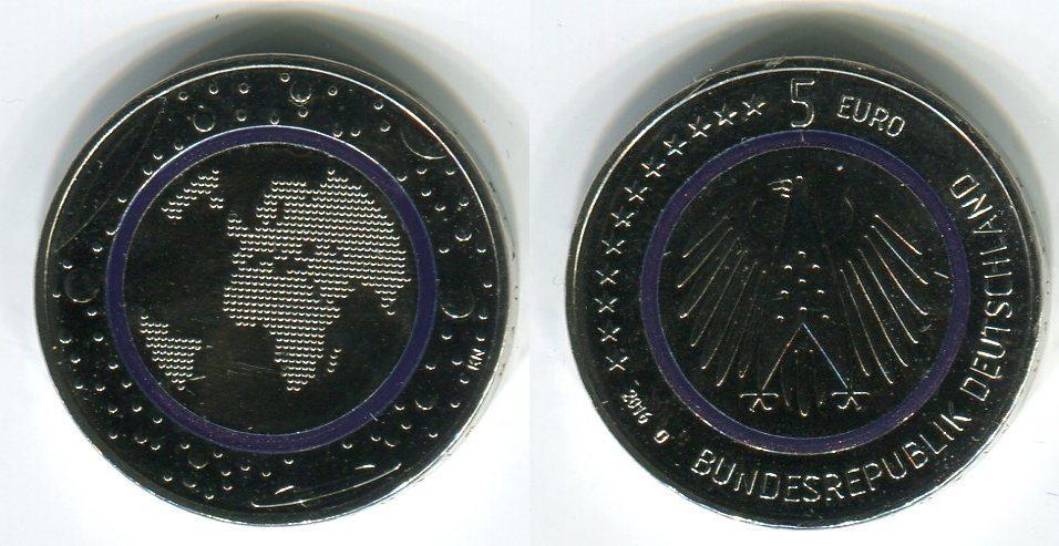 5 Euro Münze 2016 D Bundesrepublik Deutschland Blauer Planet Erde