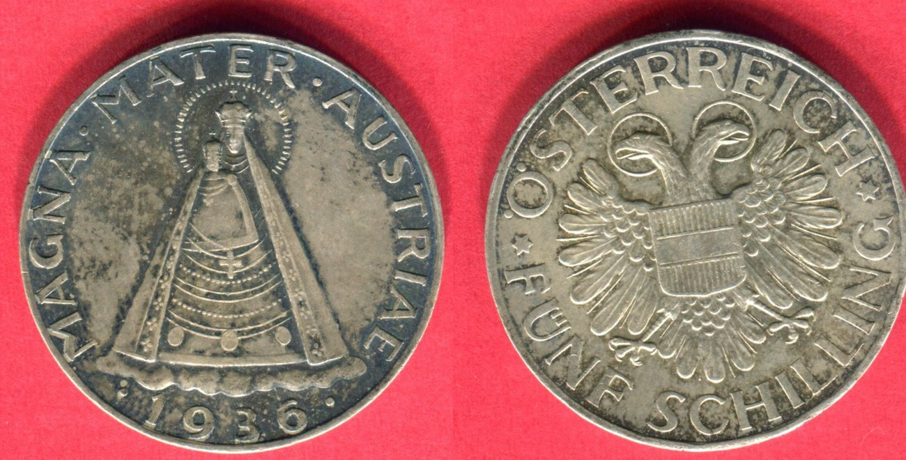 5 Schilling 1936 österreich Magna Mater Austriae Vz Winz Rf Ma