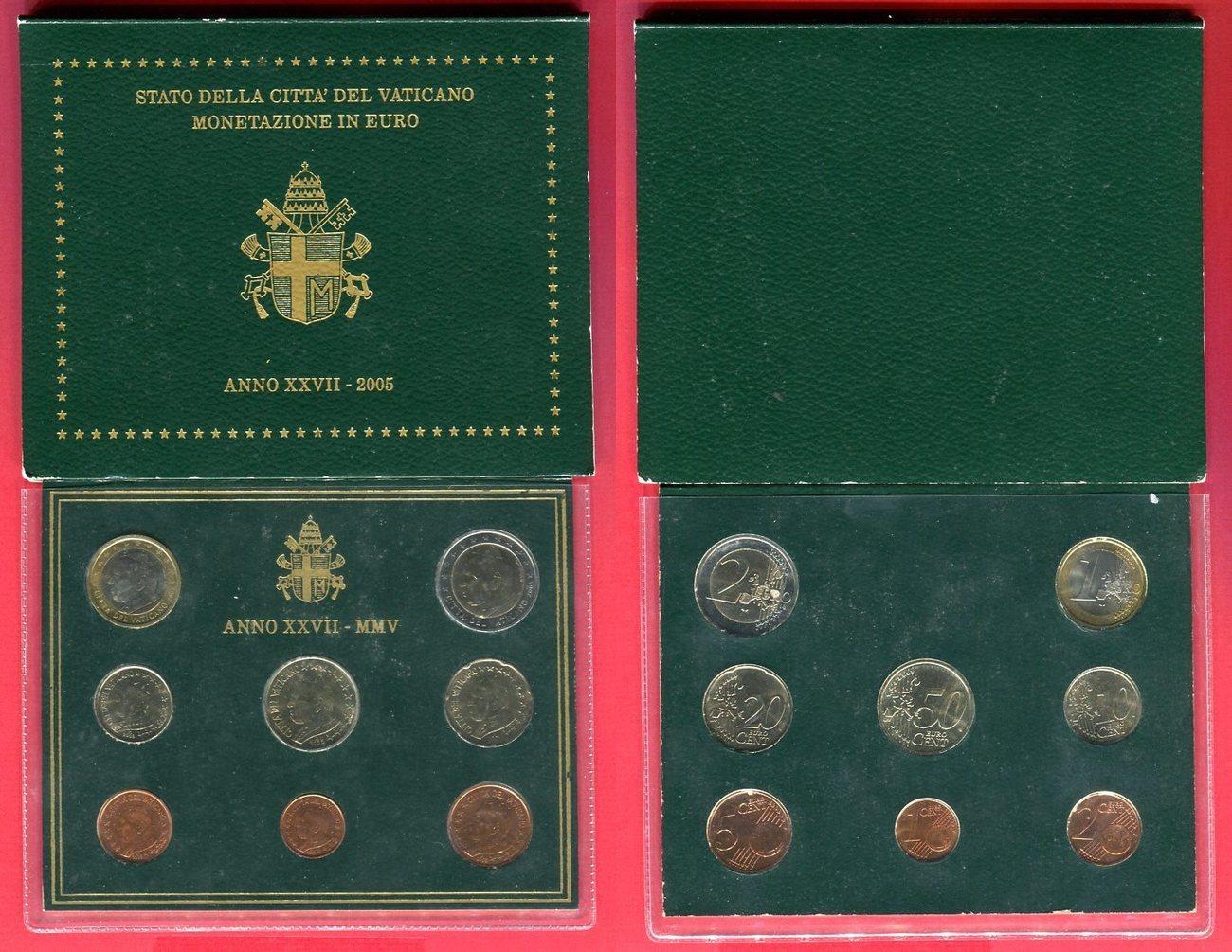 Kursmünzensatz 2005 Vatikan 1 Cent Bis 2 Euro 8 Münzen Papst