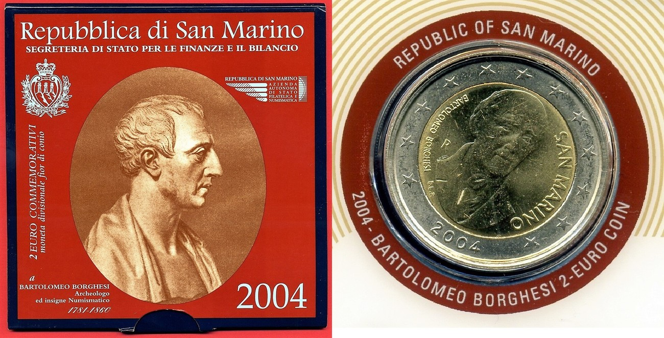 2 Euro Gedenkmünze 2004 San Marino Bartolomeo Borghesi Archeologo