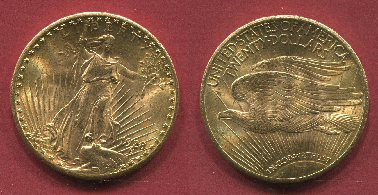 20 Dollars Dollar Gold 1928 Usa St Gaudens Typ Double