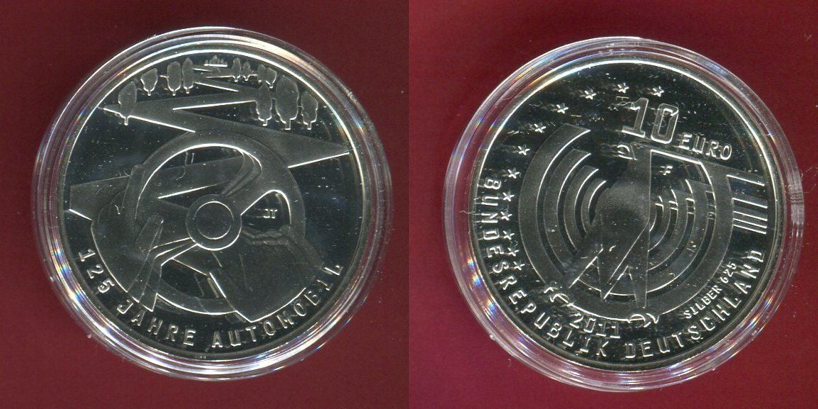 10 Euro Silbermünze Commemorative Coin 2011 Bundesrepublik Deutschland Germany Frg 125 Jahre Automobil Proof With Capsule