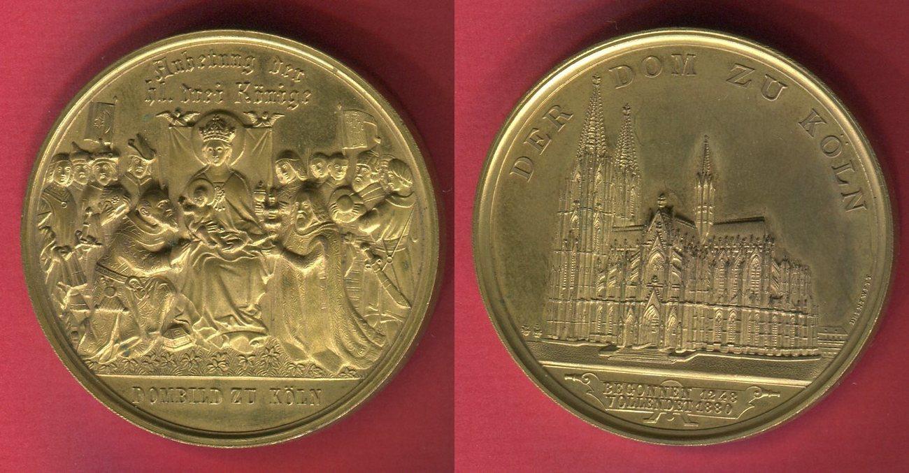 medaille aus bronze vergoldet 1880 deutsches reich dom zu k ln anbetung der heiligen drei. Black Bedroom Furniture Sets. Home Design Ideas