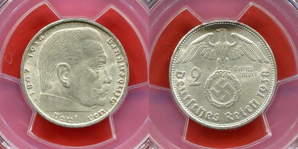 2 Reichsmark Silber 1938 B Germany Third Reich Deutsches Reich