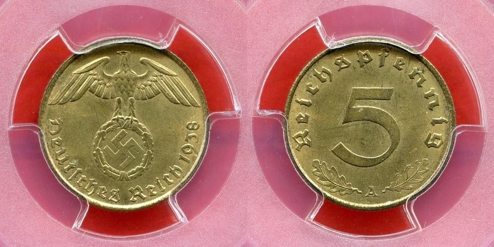 5 Reichspfennig 1938 A Germany Third Reich Deutsches Reich Drittes