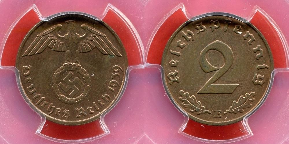 2 Reichspfennig 1939 E Germany Third Reich Deutsches Reich Drittes