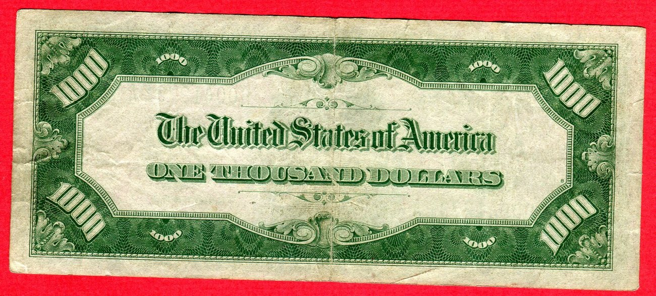1000 Dollar 1934 A USA Federal Reserve Bank Note - One Thousand Dollars  Bill - B00   31 A Used, see pictue