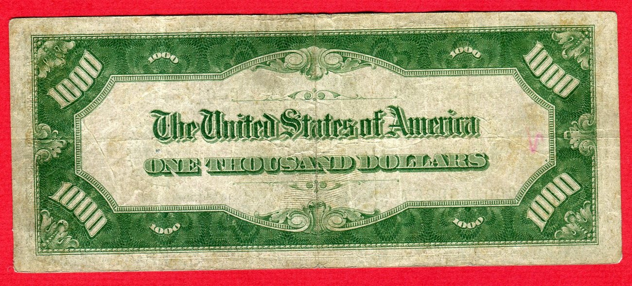 1000 Dollar 1934 Usa Federal Reserve Bank Note One Thousand Dollars Bill G00
