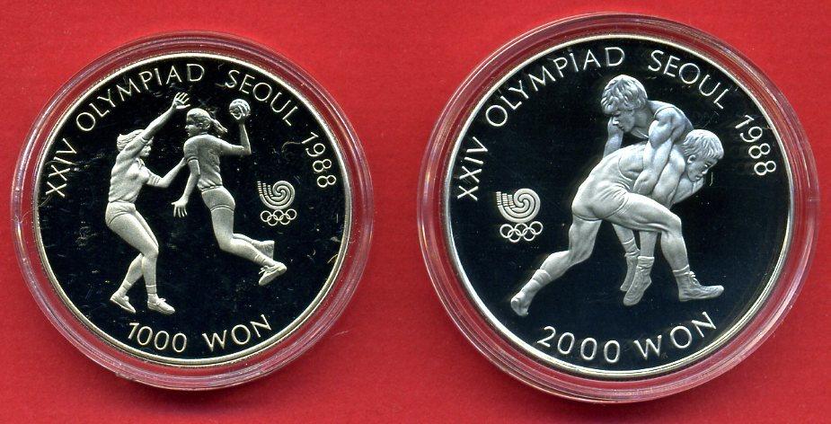 3000 Won 2 Münzen 1988 Korea Gedenkmünzen Olympiade Seoul Polierte Platte Proof