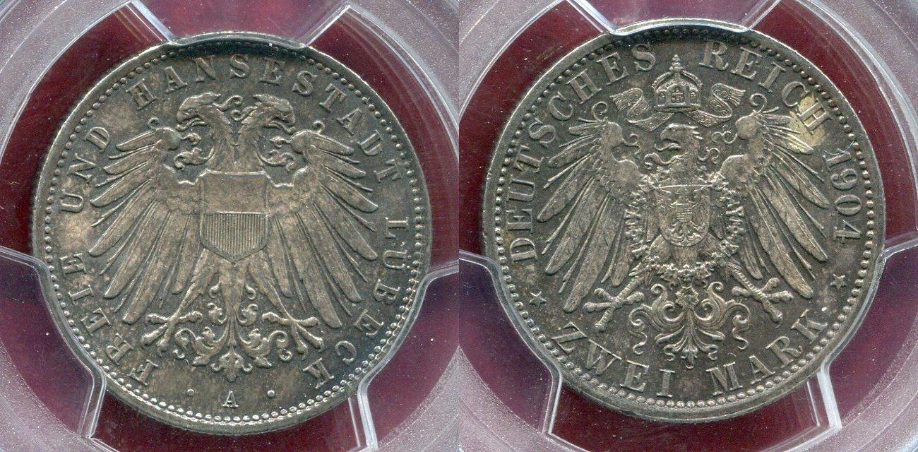 2 Mark Silber Kursmnze Circulation Coin 1904 A Lbeck City Stadtwappen USA MS 65 PCGS Holder