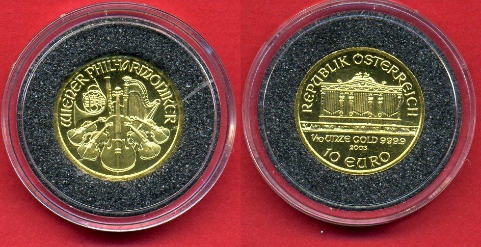 10 Euro Minigoldmünze 110 Unze 2003 österreich Wiener