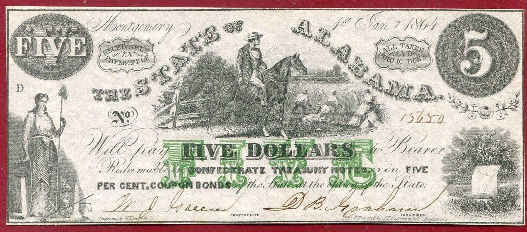 5 Dollars Banknote 1864 State of Alabama Konföderierte Staaten Confederate  States of America 5 Dollars Sklaventreiber unc