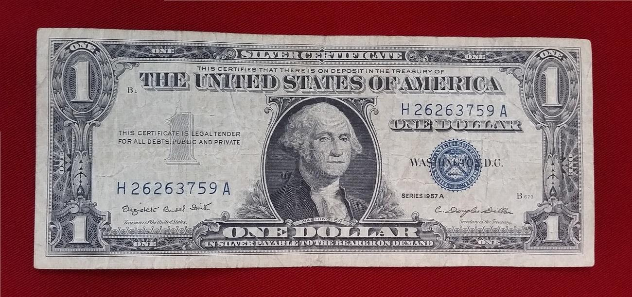 1 Dollar 1957 A Usa Silver Certificate Iii Iv Ma Shops