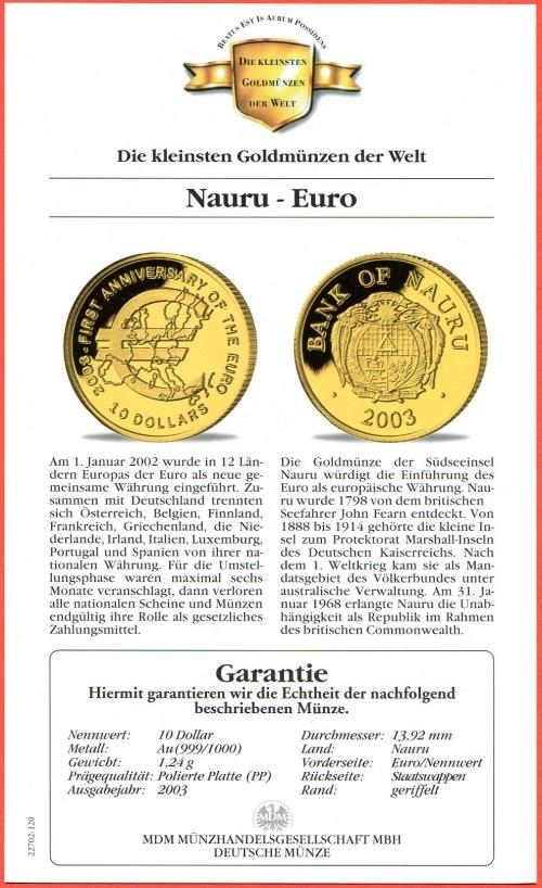 10 Dollars Minigoldmuenze 2003 Nauru Inseln Die Kleinsten Goldmuenzen Der Welt