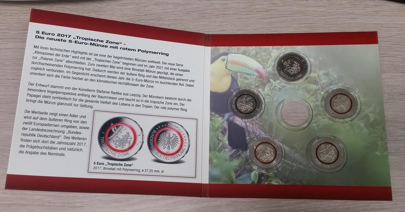 5 X 5 Euro Gedenkmünzen A J 2017 Bundesrepublik Deutschland