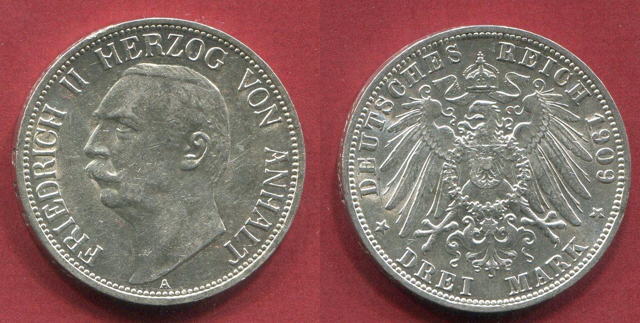 3 Mark Silber Kursmünze 1909 Anhalt Kaiserreich Deutsches Reich