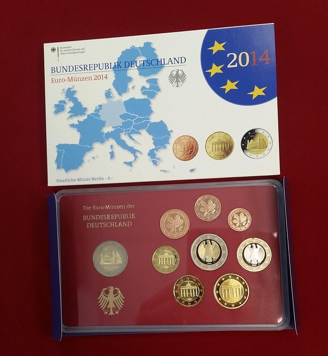 Kursmünzensatz Offiziell 5 X 588 Euro A D F G J 2014 Bundesrepublik
