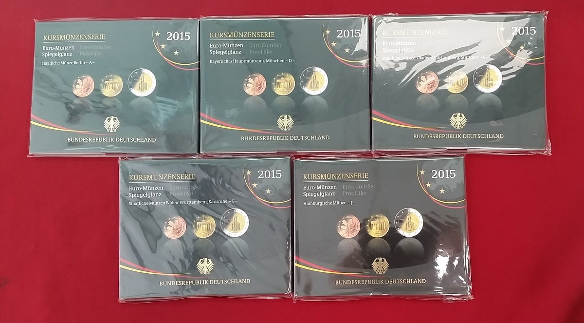 Kursmünzensatz Offiziell 5 X 588 Euro A D F G J 2015 Bundesrepublik