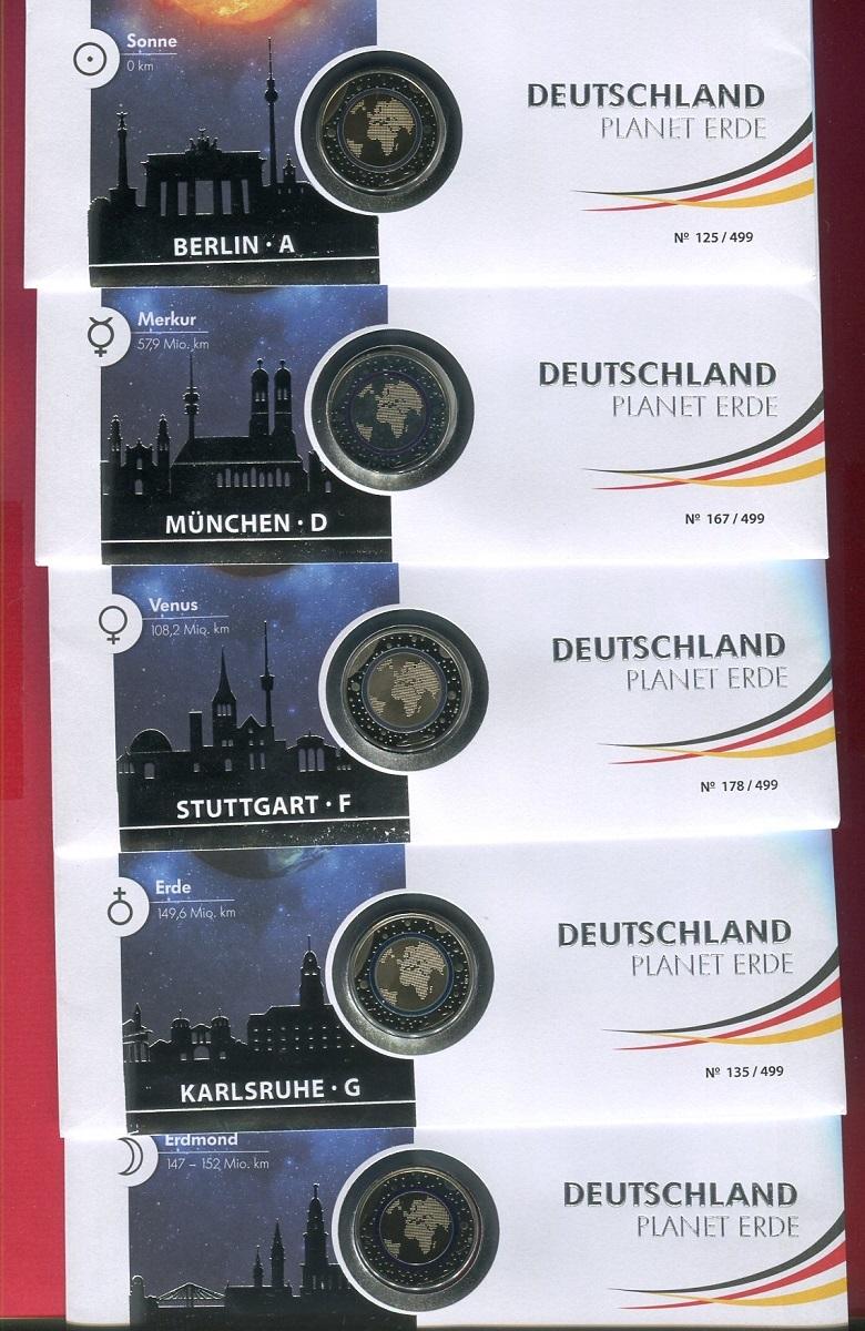 10 X 5 Euro Münzen Komplett A D F G J Polymerring 2016