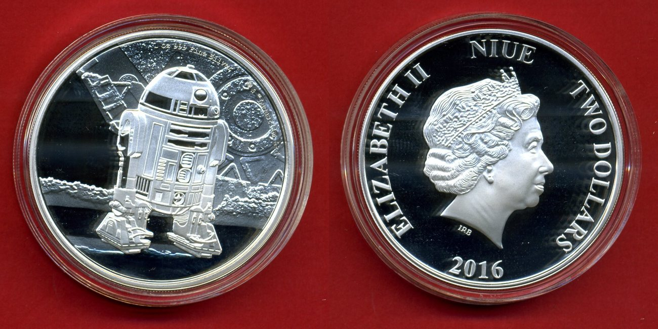 2 Dollars Silver 2016 Niue Star Wars R2d2 1oz Proof Capsule And Box
