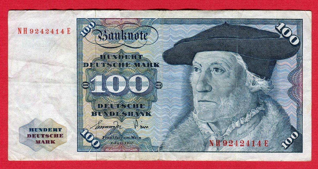 100 DM Deutsche Mark 1977 BRD, Deutsche Bundesbank Banknote NH     E used,  please see picture
