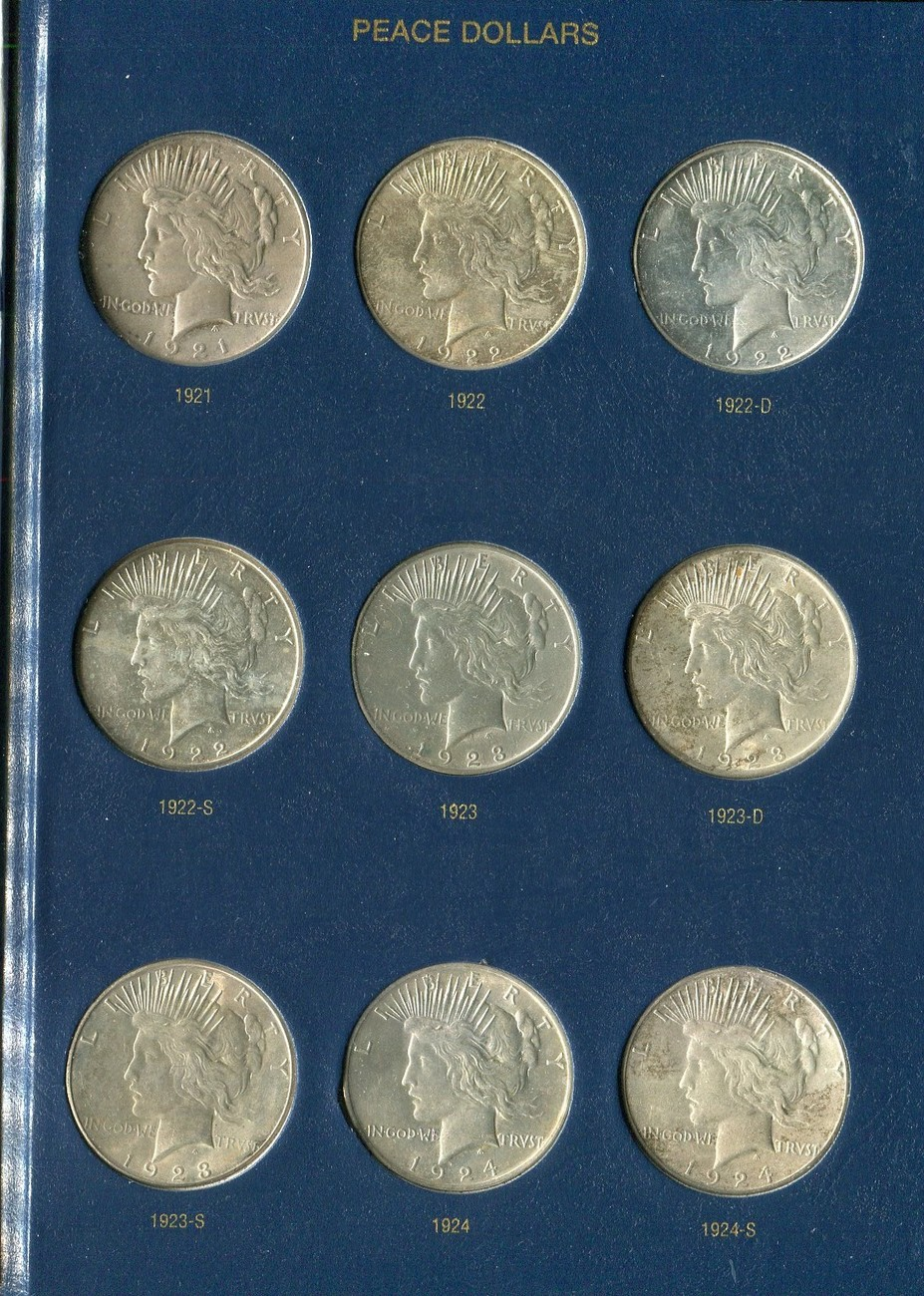 24 x 1 Dollar 1921 - 1935 USA Peace Dollars Komplettsatz - hübsche Sammlung  Lot see picture