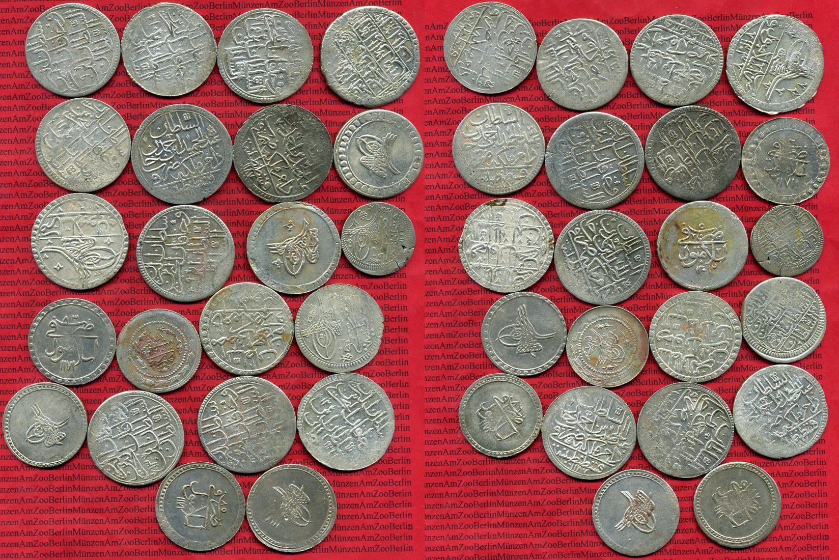 22 Münzen 1800 Ff Türkei Osmanisches Reich Lot Von 22 Silbermünzen