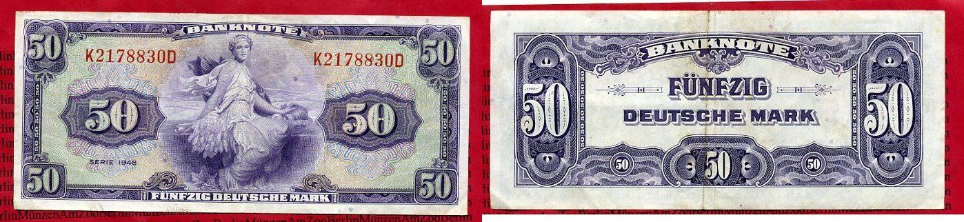 50 Dm Deutsche Mark Kopfgeld 1948 Bundesrepublik Deutschland Western Germany Currency Reform After Ww Ii German Marks Us Print Vf