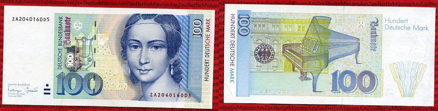 100 Dm Deutsche Mark 1996 Brd Bundesbank Replacement Note Ef Leichte Wellen Ma S