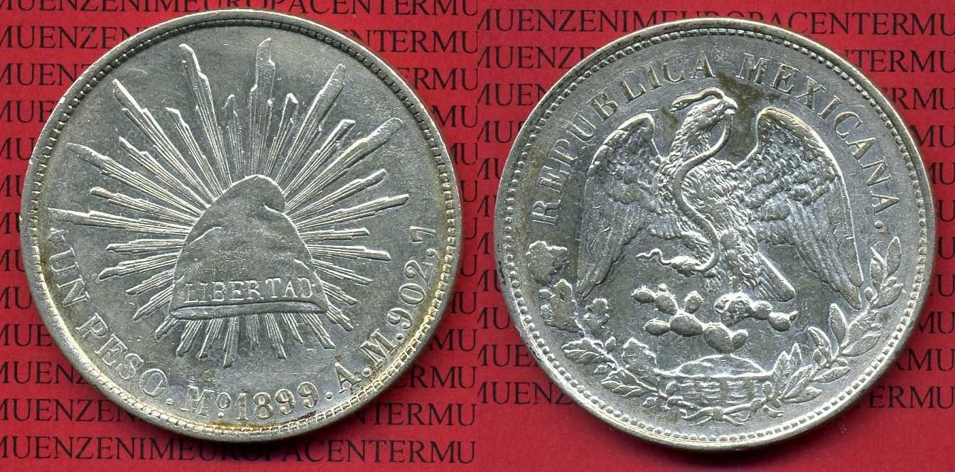 1 Peso Silbermünze 1899 Mo AM Mexico, Mexiko Mexiko 1 Peso 1899 Mexico City, Mo AM allmost uncirculated