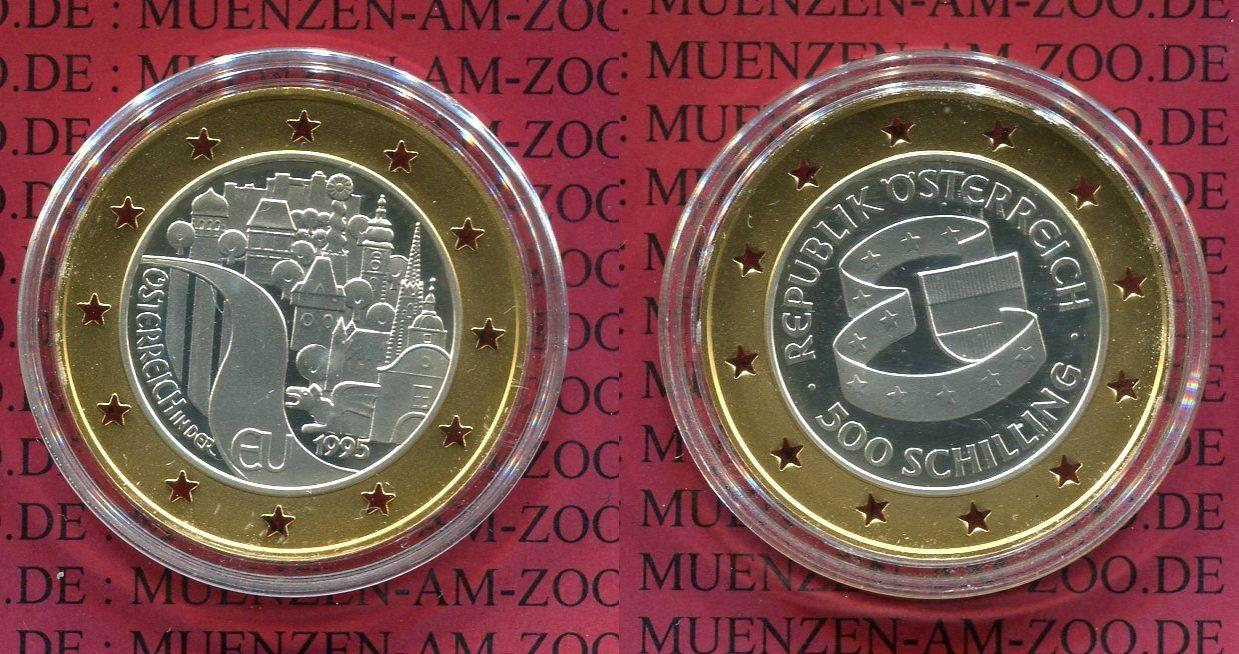 500 Schilling Bimetall Gold Silber 1995 österreich Austria