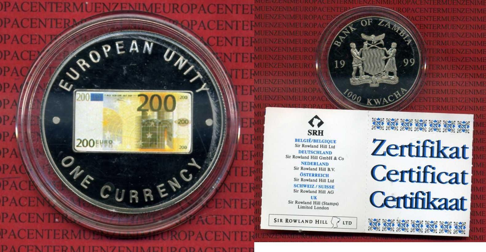 1000 Kwacha Farbmünze 1999 Sambia Zambia Sambia 1000 Kwacha