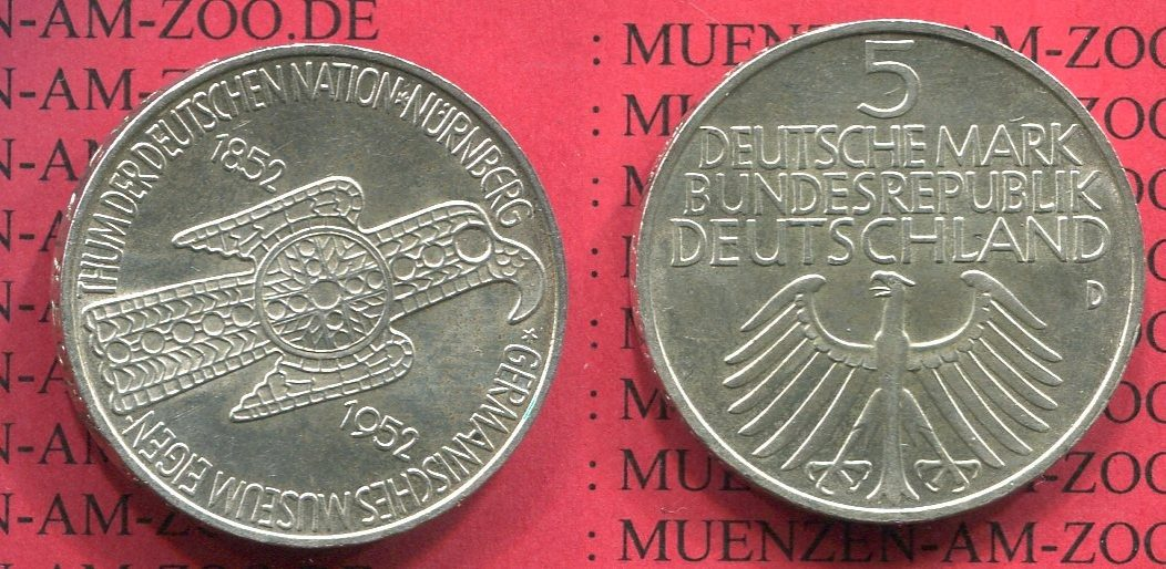 5 DM Gedenkmünze Silber 1952 Bundesrepublik Deutschland Bundesrepublik Deutschland 5 DM Gedenkmünze 1952 D 100 Jahre Germanisches Museum vz