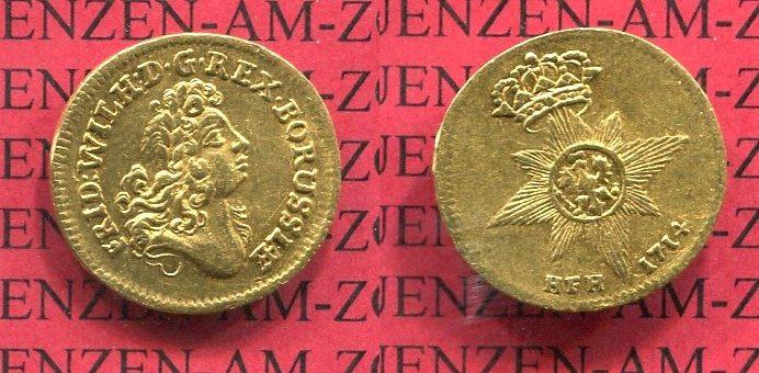 1/2 Dukat 1714 HFH Brandenburg Preußen Königreich Preußen 1/2 Dukat 1714 HFH Friedrich Wilhelm I. Soldatenkönig Sehr Selten sehr schön + /sehr schön