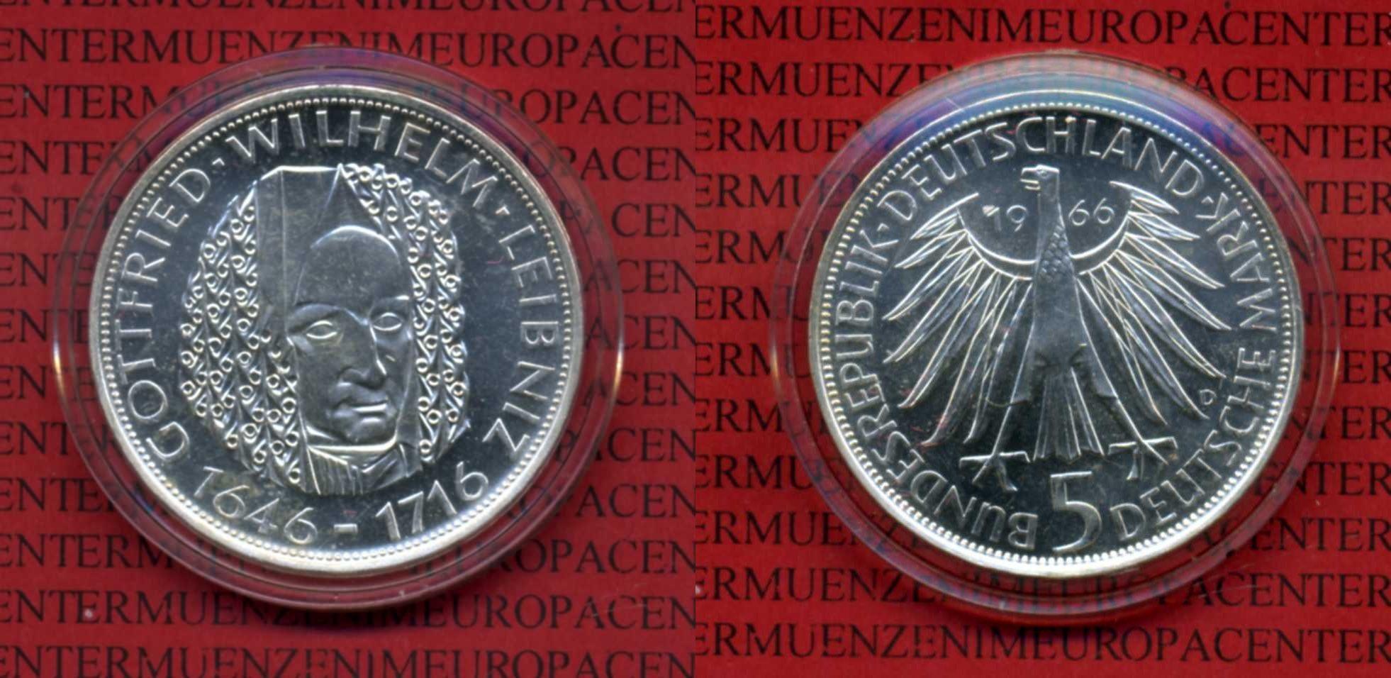 5 DM Silber Gedenkmünze 1966 Bundesrepublik Deutschland Deutschland 5 Mark 1966 Gottfried Wilhelm -Leibniz 1646-1716 Kapsel Spiegelglanz* - PP