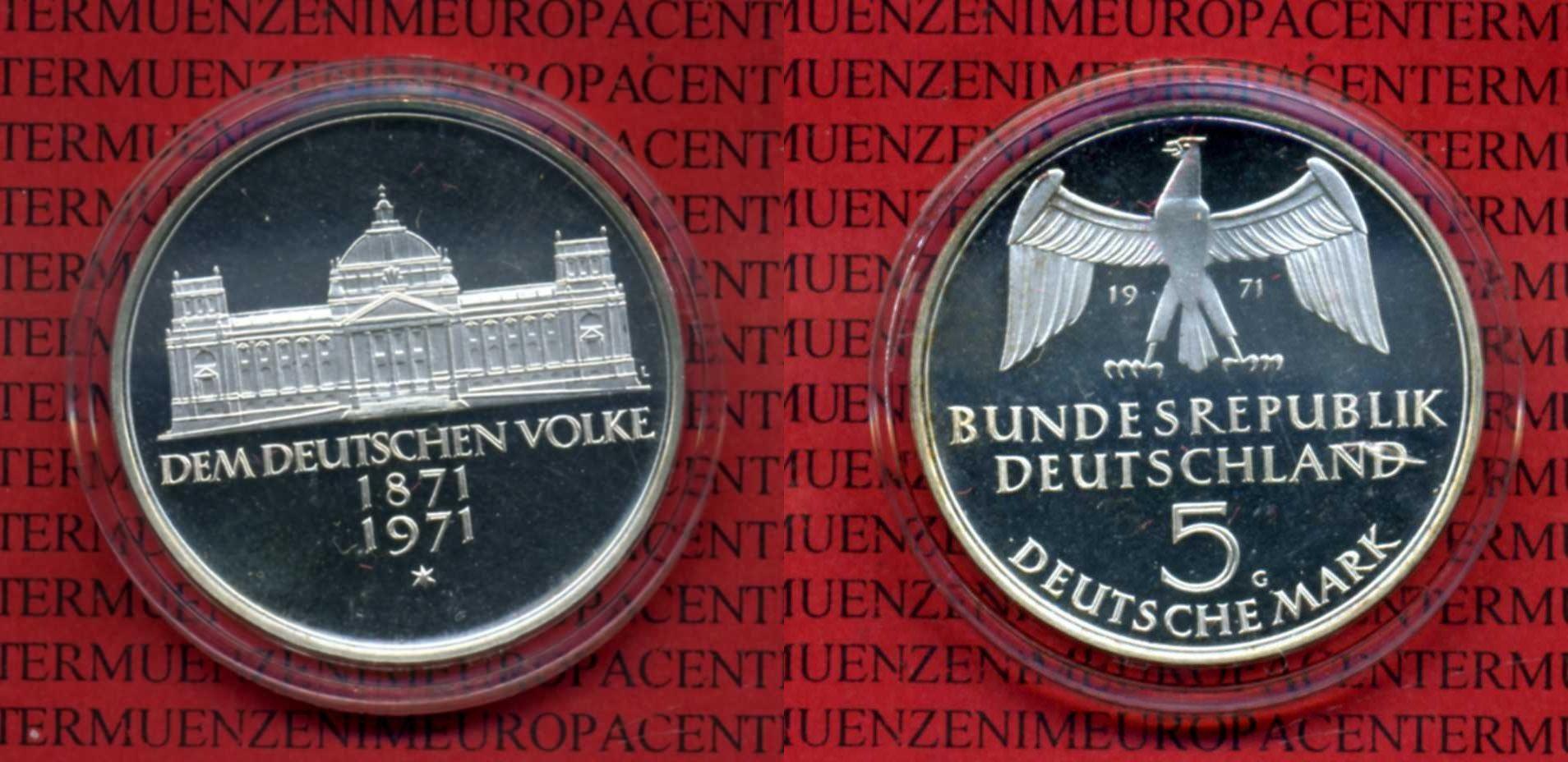 5 DM Silber Gedenkmünze 1971 Bundesrepublik Deutschland Deutschland 5 Mark BRD 1971 100 Jahre Reichsgründung Kapsel Spiegelglanz* - PP