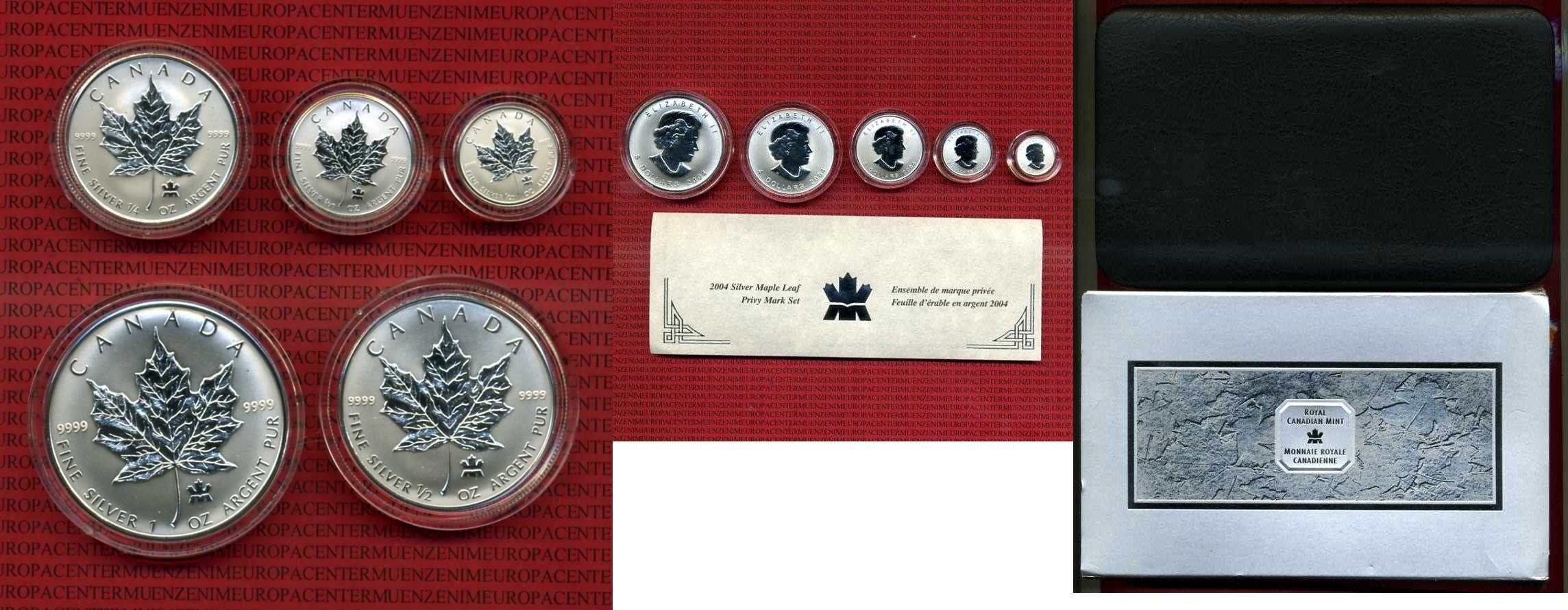 1/20-1 Unze Maple Leaf Pryvy mark 2004 Kanada, Canada Kanada Privy Mark Set 2001, 5, 4, 3, 2 1 Dollar Silber BU Stempelglanz BU mit Box und Zertifikat