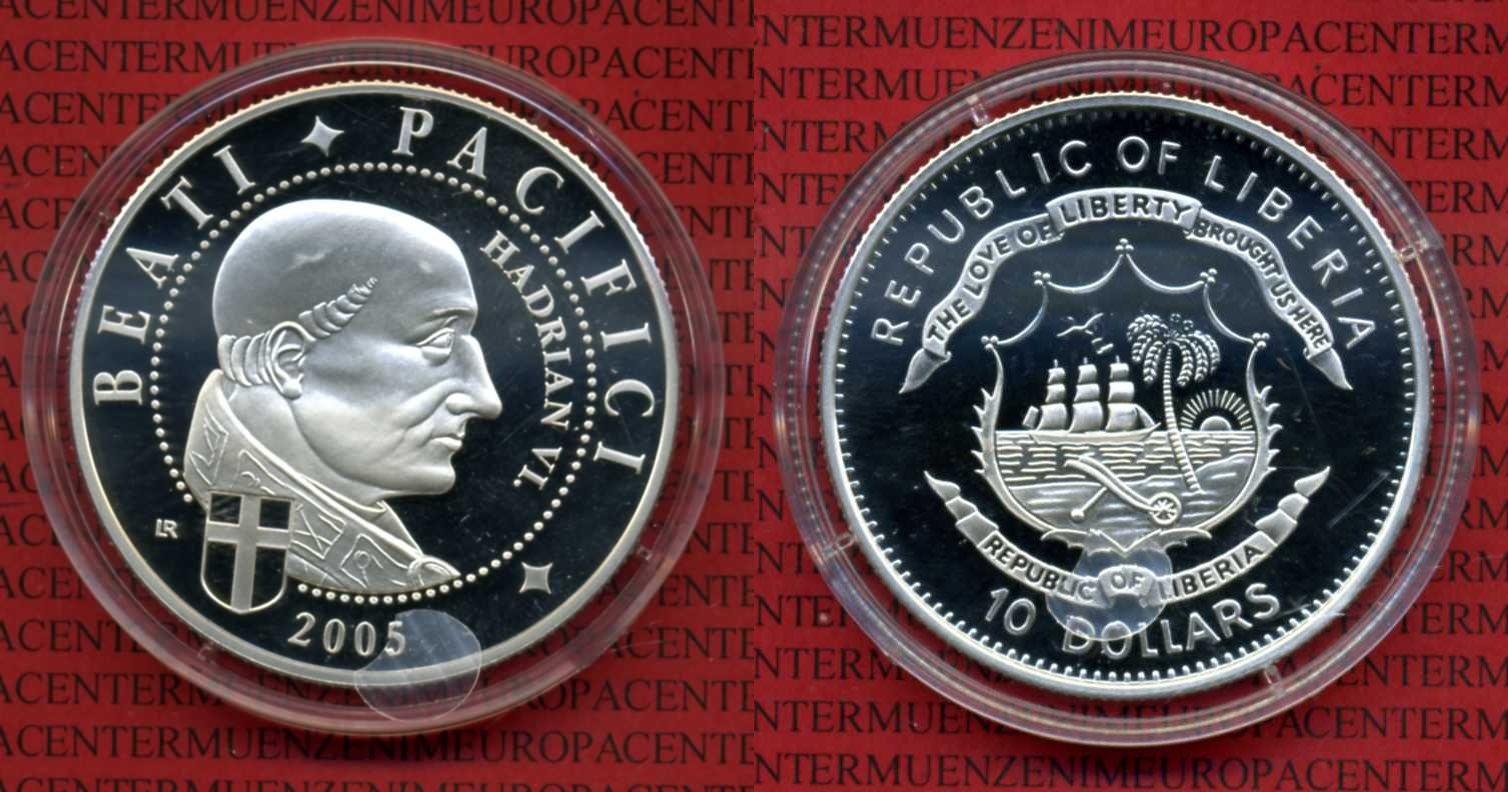 10 Dollars 2005 Liberia Liberia 2005 10 Dollars Beati Pacifici Papst Hadrian VI. Kapsel proof
