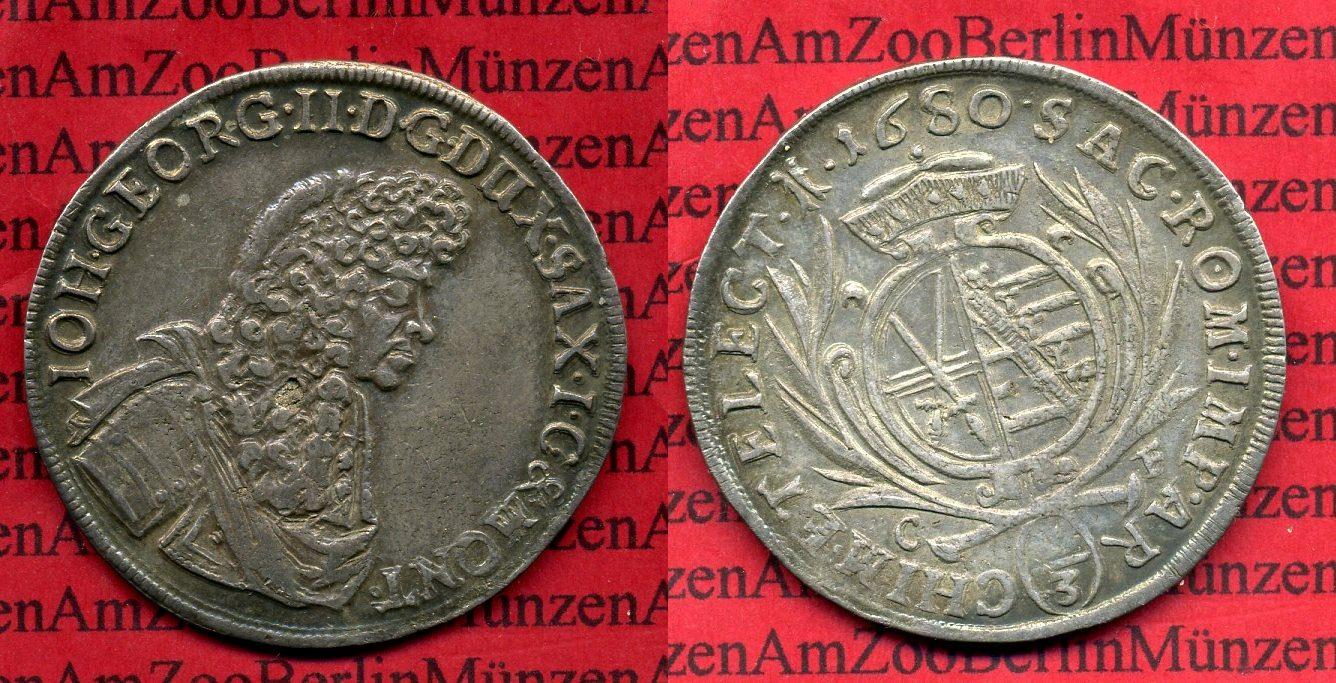 2/3 Taler 1680 CF Sachsen Albertinische Linie Sachsen 2/3 Taler 1680CF Johann Georg II. Erhaltung !! au-unc toned weekly struck