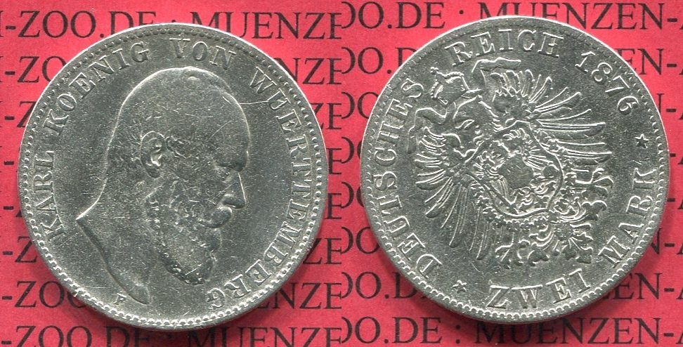 2 Mark Silbermünze 1876 Württemberg Württemberg 2 Mark 1876 ,Kursmünze, König Karl J. 172 not cleaned