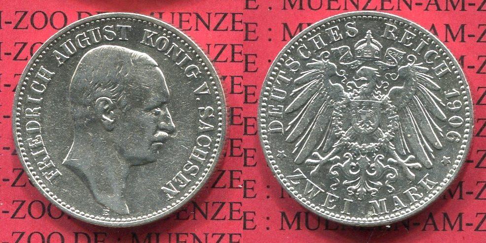 2 Mark Silbermünze 1906 Sachsen Sachsen 2 Mark 1906, Friedrich August Kursmünze , Silber, J. 134 sehr schön + kl. Kratzer auf Wertseite