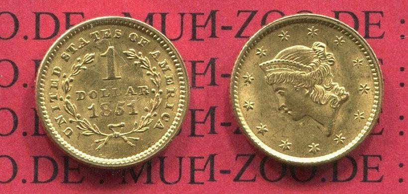 1 Dollar Gold Frauenkopf 1851 Usa Xf