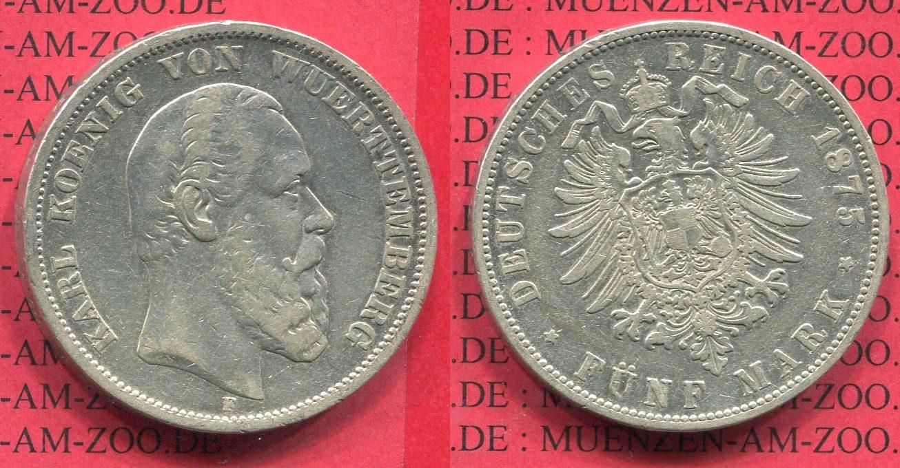 5 Mark Silbermünze 1876 Württemberg Württemberg 5 Mark 1876