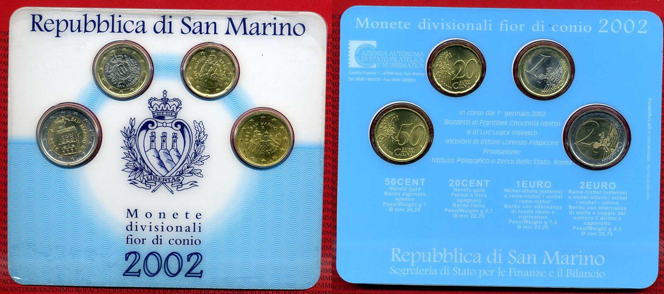 Kms 370 Mini 20 Cent 2 Euro 2002 San Marino San Marino