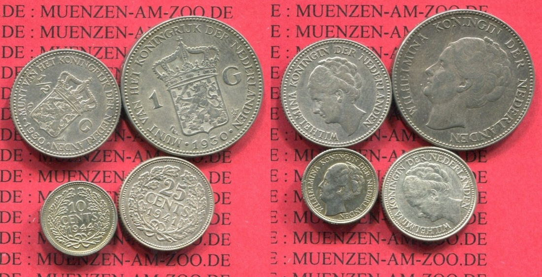 1 12 Gulden 25 Cent 10 Cent 1930 1941 1944s Niederlande Holland