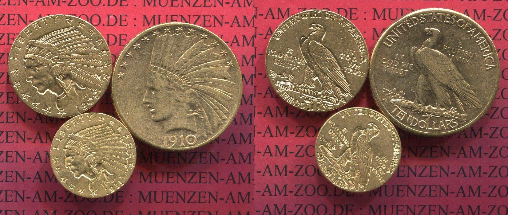 25 5 Und 10 Dollars Indianerkopf Set 1910 09 1911 Usa Usa Indian
